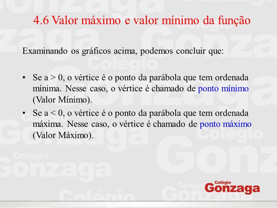 4.6 Valor máximo e valor mínimo da função Examinando os gráficos acima, podemos concluir que: Se a > 0, o vértice é o ponto da parábola que tem ordena