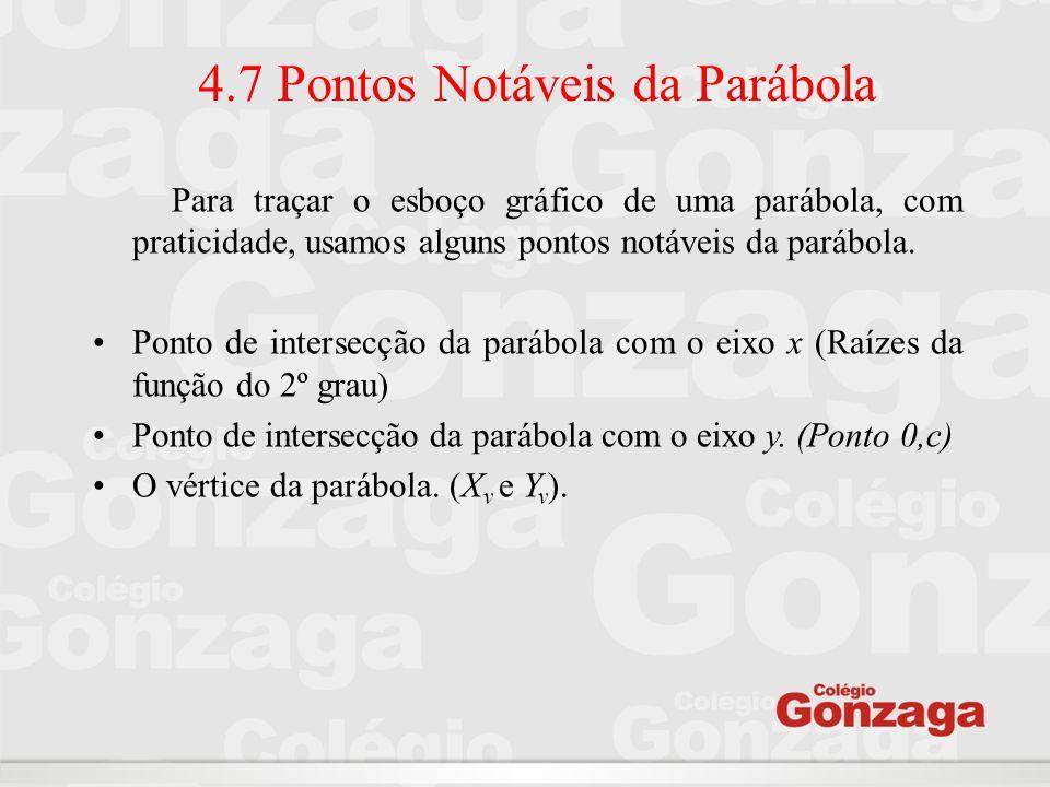 4.7 Pontos Notáveis da Parábola Para traçar o esboço gráfico de uma parábola, com praticidade, usamos alguns pontos notáveis da parábola. Ponto de int