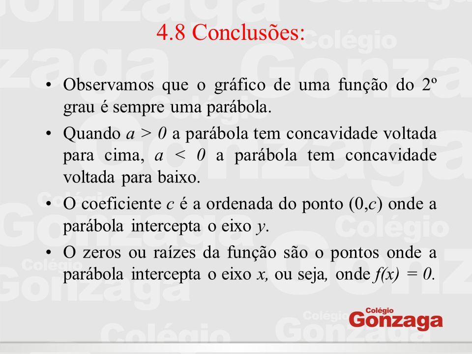 4.8 Conclusões: Observamos que o gráfico de uma função do 2º grau é sempre uma parábola. Quando a > 0 a parábola tem concavidade voltada para cima, a