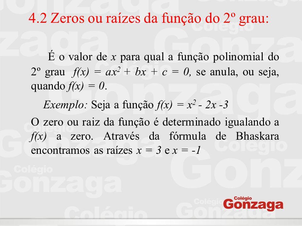 4.2 Zeros ou raízes da função do 2º grau: É o valor de x para qual a função polinomial do 2º grau f(x) = ax 2 + bx + c = 0, se anula, ou seja, quando