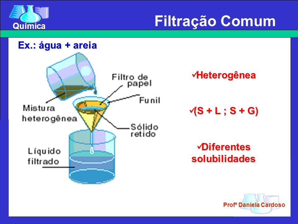 Profª Daniela Cardoso Química Filtração Comum Heterogênea Heterogênea (S + L ; S + G) (S + L ; S + G) Diferentes solubilidades Diferentes solubilidades Ex.: água + areia