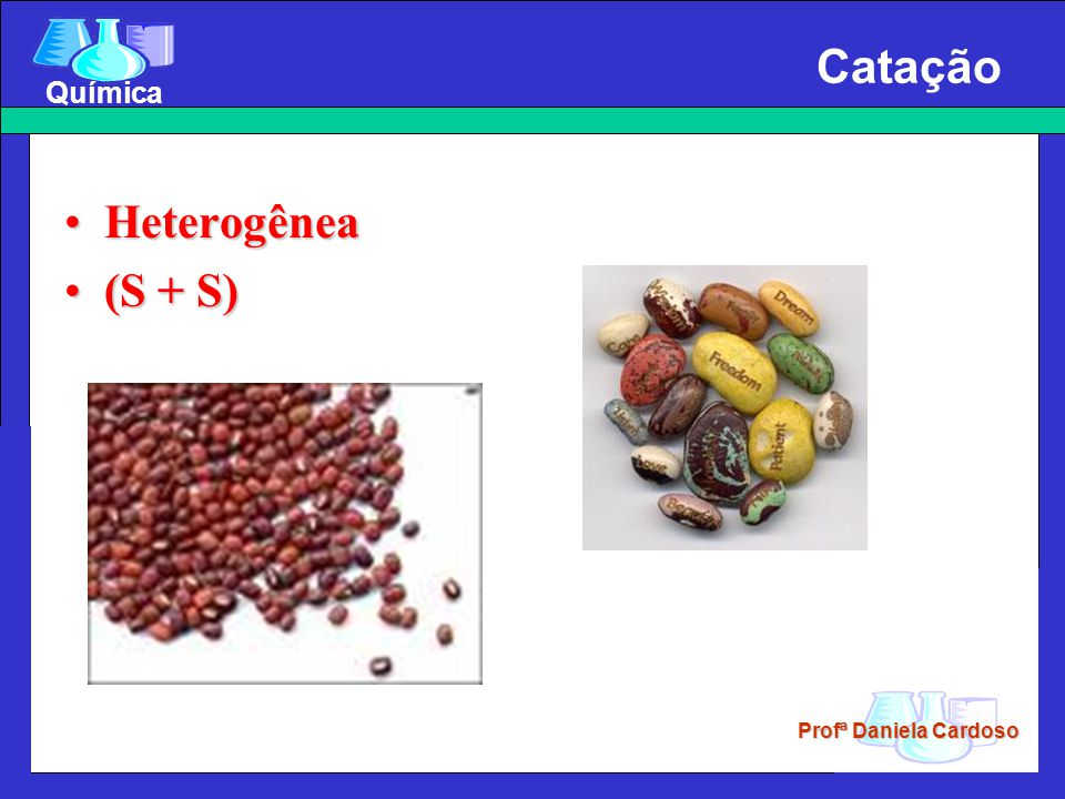 Profª Daniela Cardoso Química Catação HeterogêneaHeterogênea (S + S)(S + S)
