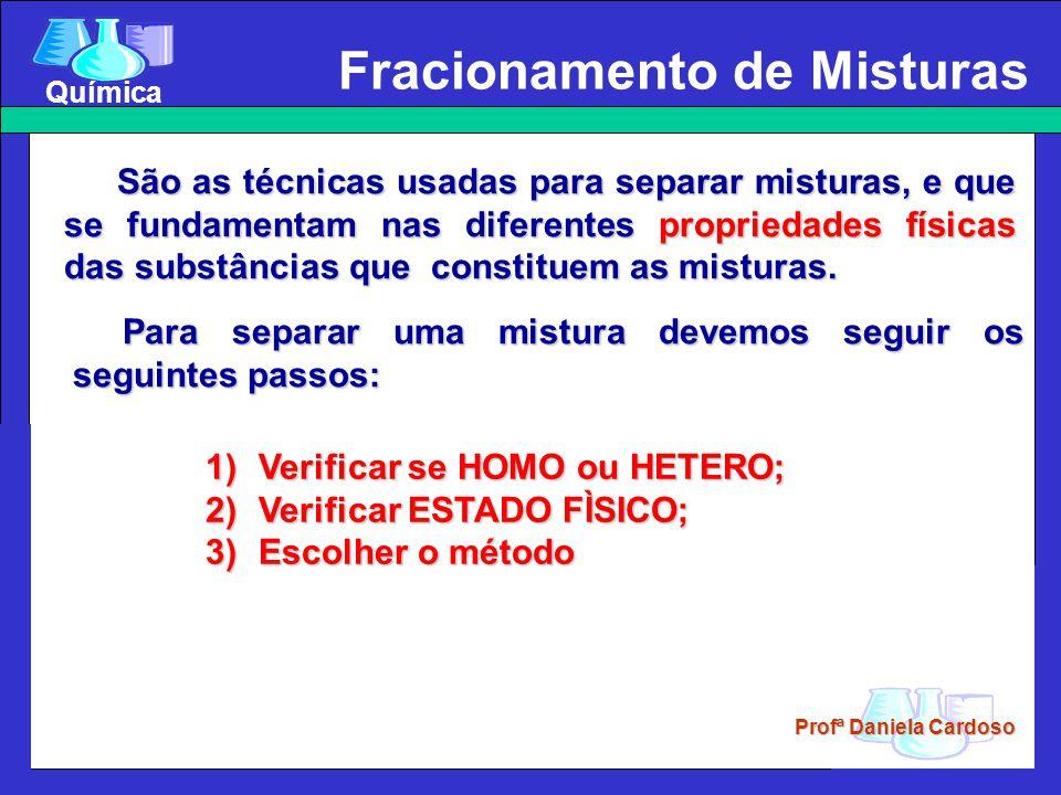Profª Daniela Cardoso Química Homogênea: escolher métodos que utilizem, além de operações mecânicas, processos que envolvam fenômenos físicos, como evaporação, etc.