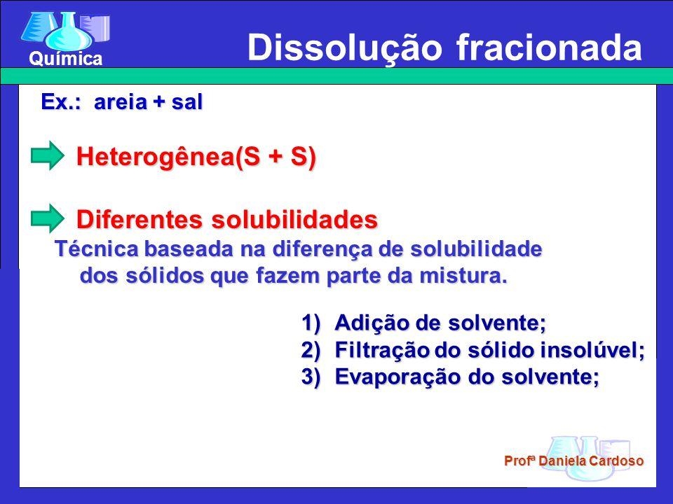 Profª Daniela Cardoso Química 1)Adição de solvente; 2)Filtração do sólido insolúvel; 3)Evaporação do solvente; Heterogênea(S + S) Heterogênea(S + S) Diferentes solubilidades Diferentes solubilidades Técnica baseada na diferença de solubilidade dos sólidos que fazem parte da mistura.