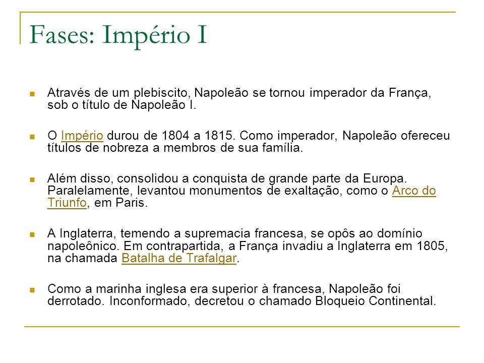 Fases: Império I Através de um plebiscito, Napoleão se tornou imperador da França, sob o título de Napoleão I. O Império durou de 1804 a 1815. Como im