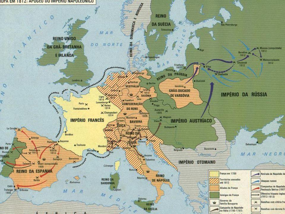 Fases: Império II O Bloqueio Continental declarava que todos os países europeus deveriam fechar os seus portos para os produtos industriais da Inglaterra.Bloqueio Continental O objetivo era enfraquecer a economia inglesa, em processo de crescimento devido a Revolução Industrial.