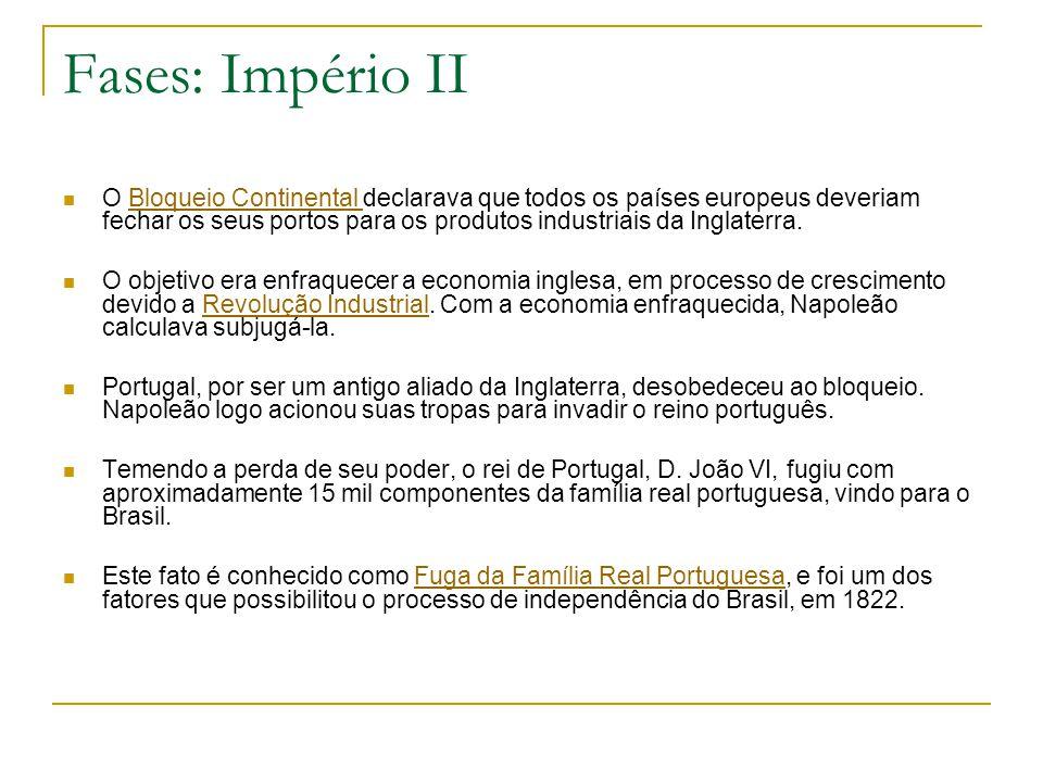 Fases: Império II O Bloqueio Continental declarava que todos os países europeus deveriam fechar os seus portos para os produtos industriais da Inglate