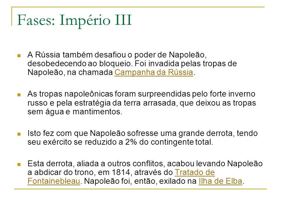Fases: Império III A Rússia também desafiou o poder de Napoleão, desobedecendo ao bloqueio. Foi invadida pelas tropas de Napoleão, na chamada Campanha
