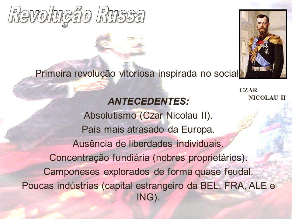Primeira revolução vitoriosa inspirada no socialismo. ANTECEDENTES: Absolutismo (Czar Nicolau II). País mais atrasado da Europa. Ausência de liberdade