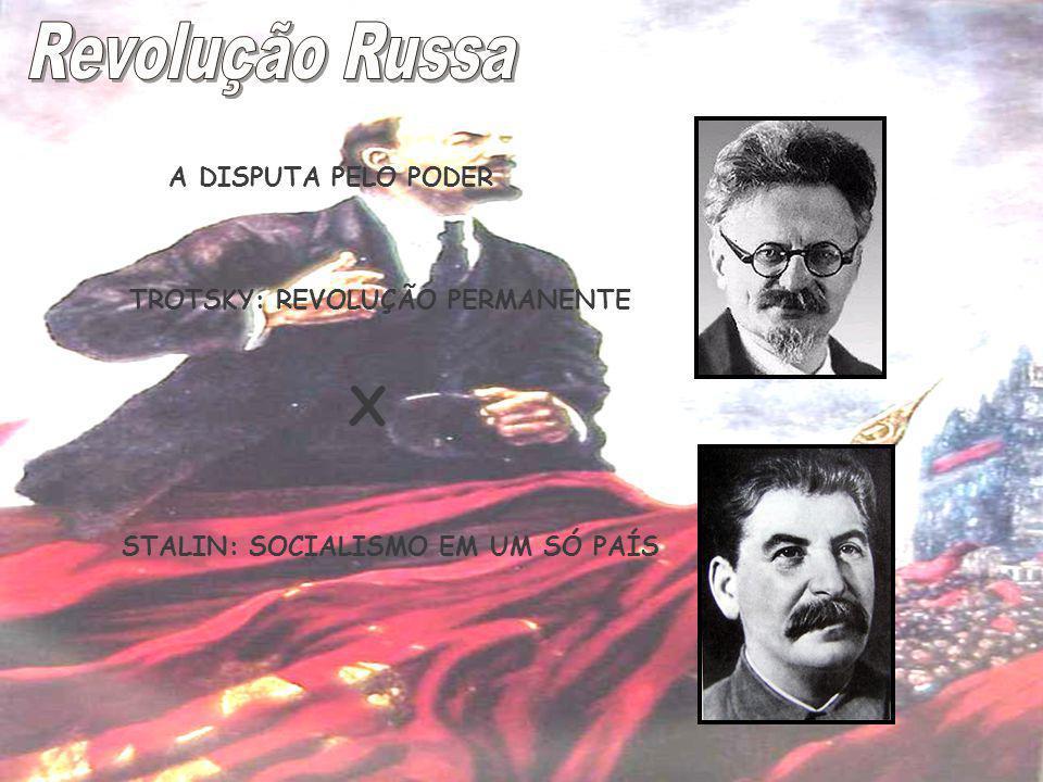 A DISPUTA PELO PODER TROTSKY: REVOLUÇÃO PERMANENTE STALIN: SOCIALISMO EM UM SÓ PAÍS X