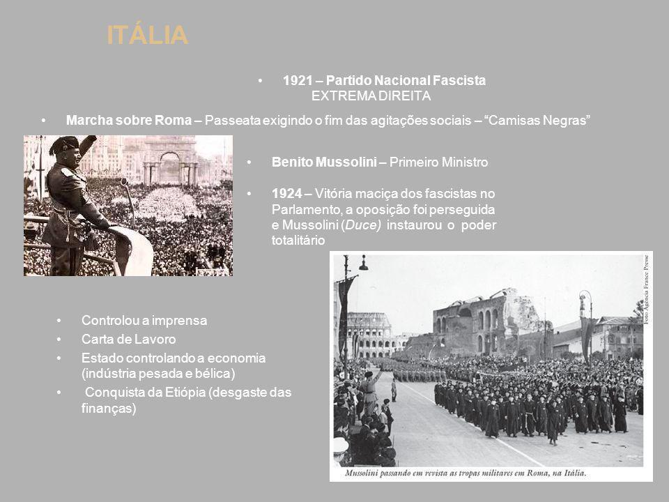 """ITÁLIA 1921 – Partido Nacional Fascista EXTREMA DIREITA Marcha sobre Roma – Passeata exigindo o fim das agitações sociais – """"Camisas Negras"""" Benito Mu"""
