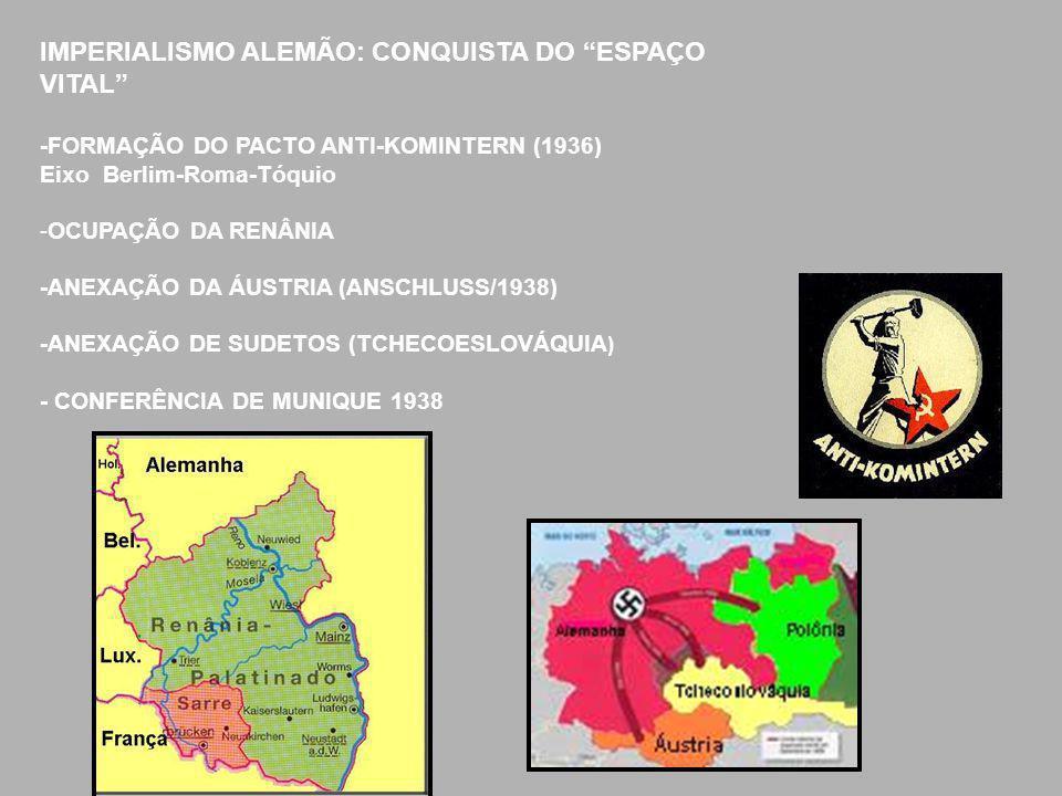 """IMPERIALISMO ALEMÃO: CONQUISTA DO """"ESPAÇO VITAL"""" -FORMAÇÃO DO PACTO ANTI-KOMINTERN (1936) Eixo Berlim-Roma-Tóquio -OCUPAÇÃO DA RENÂNIA -ANEXAÇÃO DA ÁU"""