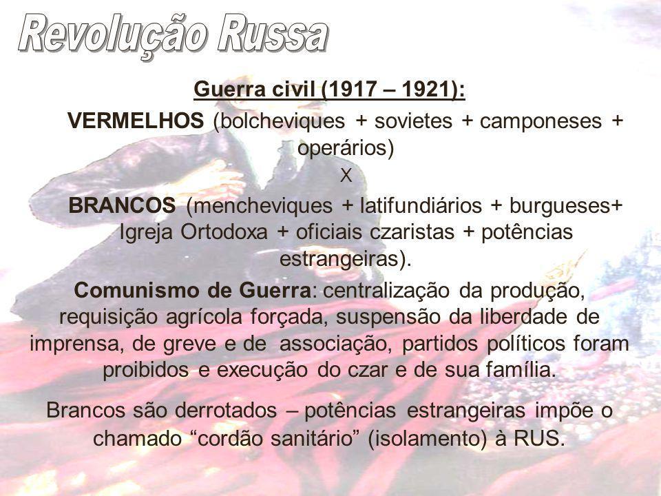 Guerra civil (1917 – 1921): VERMELHOS (bolcheviques + sovietes + camponeses + operários) X BRANCOS (mencheviques + latifundiários + burgueses+ Igreja