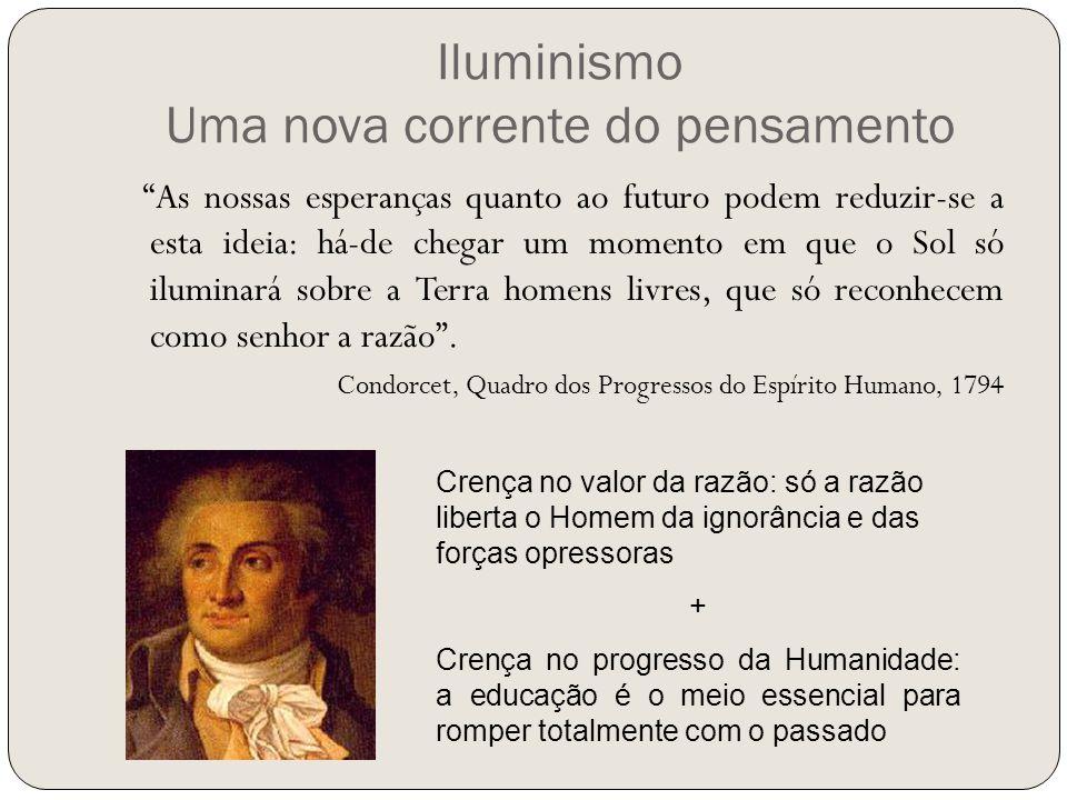"""Iluminismo Uma nova corrente do pensamento """"As nossas esperanças quanto ao futuro podem reduzir-se a esta ideia: há-de chegar um momento em que o Sol"""
