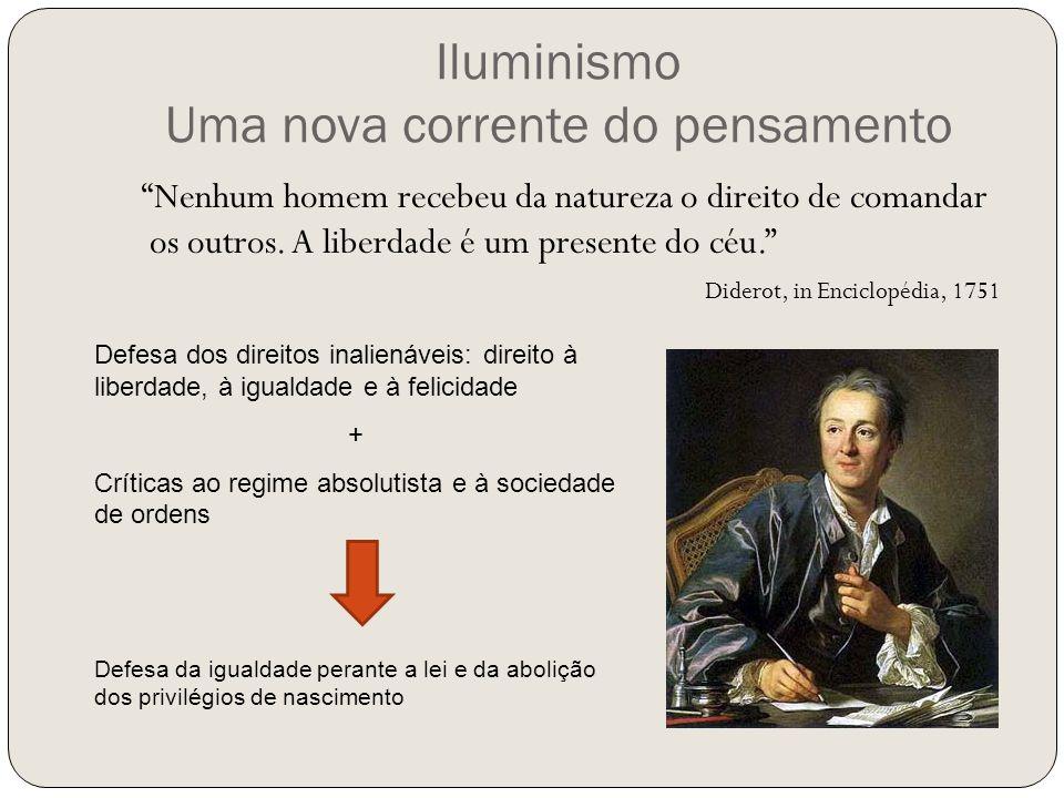 """Iluminismo Uma nova corrente do pensamento """"Nenhum homem recebeu da natureza o direito de comandar os outros. A liberdade é um presente do céu."""" Dider"""