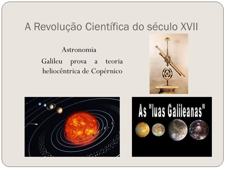 A Revolução Científica do século XVII Astronomia Galileu prova a teoria heliocêntrica de Copérnico