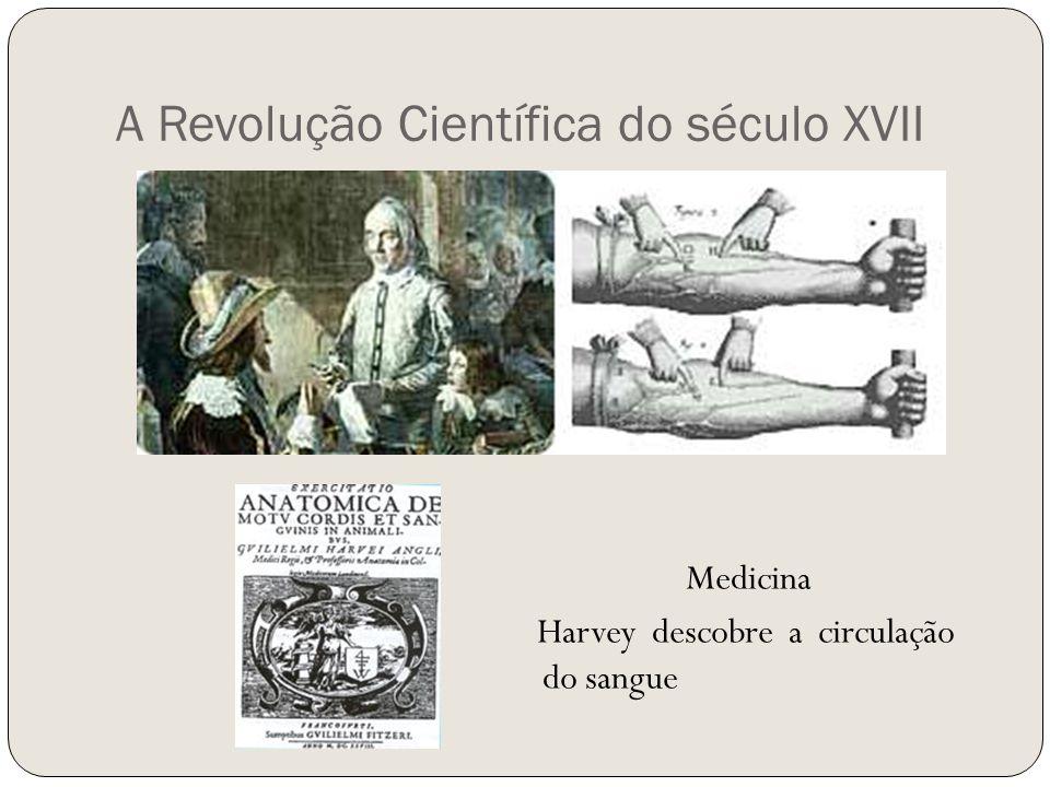 A Revolução Científica do século XVII Medicina Harvey descobre a circulação do sangue