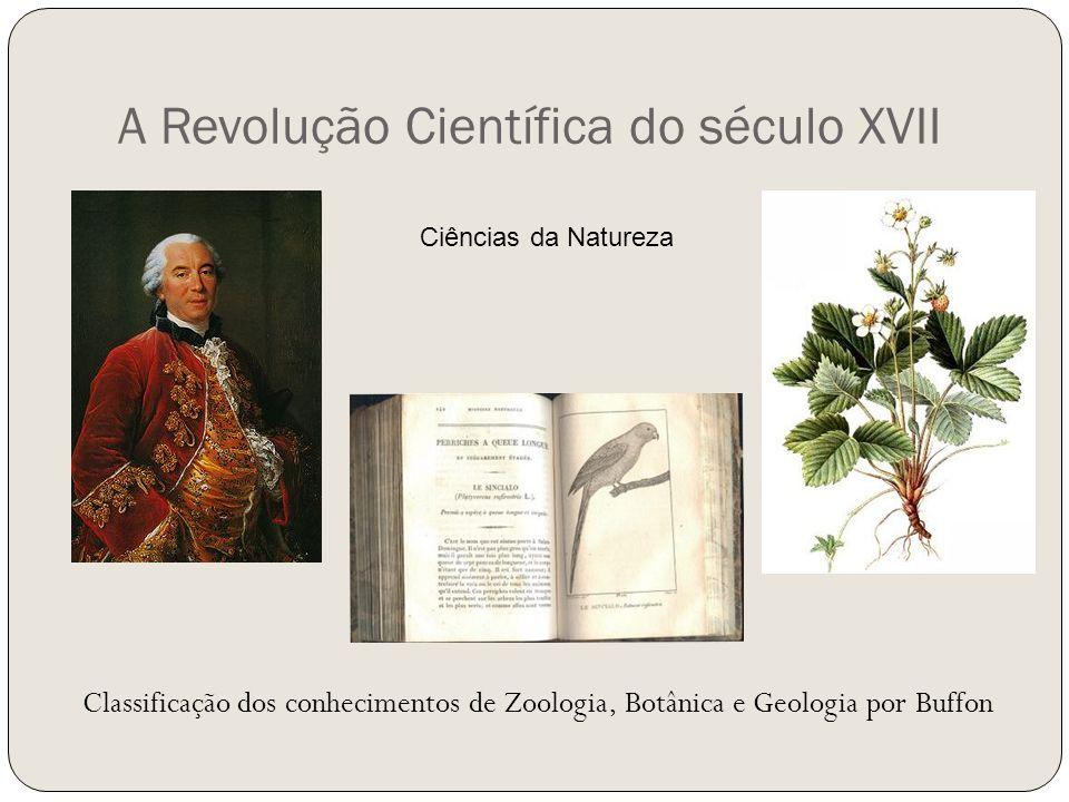A Revolução Científica do século XVII Classificação dos conhecimentos de Zoologia, Botânica e Geologia por Buffon Ciências da Natureza