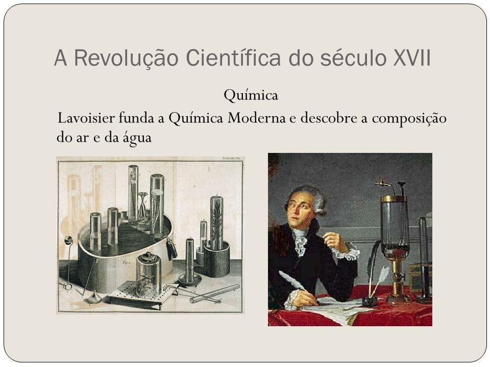 A Revolução Científica do século XVII Química Lavoisier funda a Química Moderna e descobre a composição do ar e da água