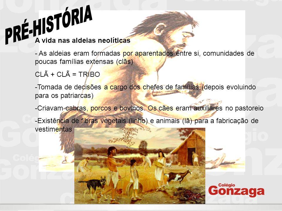 A vida nas aldeias neolíticas - As aldeias eram formadas por aparentados entre si, comunidades de poucas famílias extensas (clãs) CLÃ + CLÃ = TRIBO -T