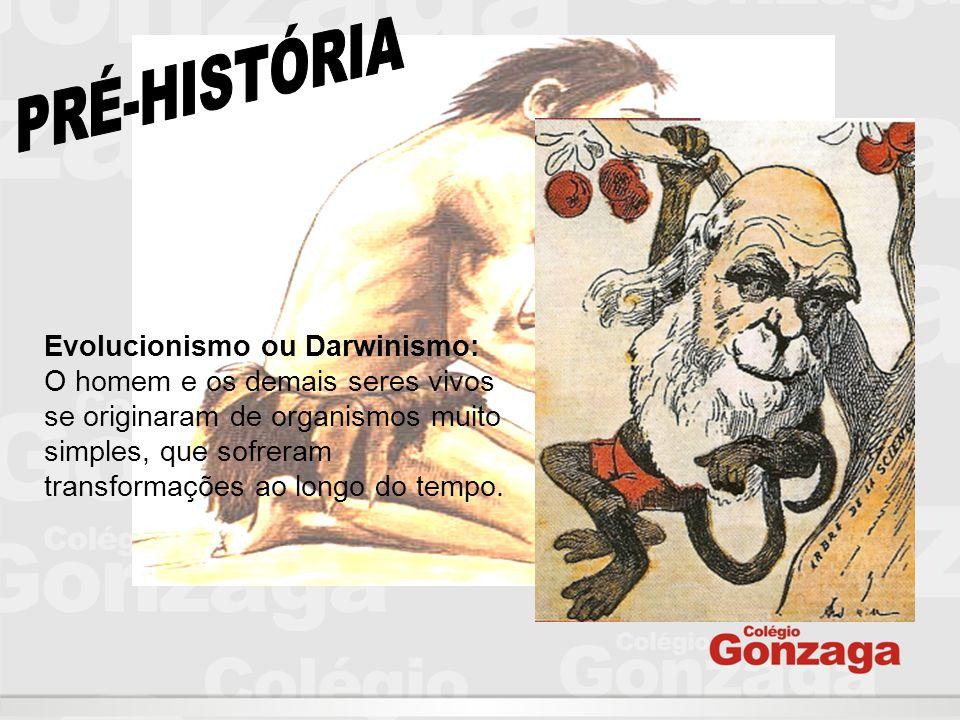 Evolucionismo ou Darwinismo: O homem e os demais seres vivos se originaram de organismos muito simples, que sofreram transformações ao longo do tempo.