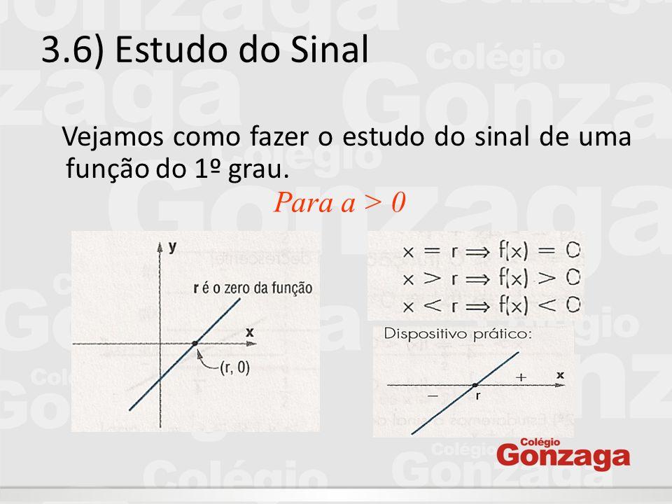 3.6) Estudo do Sinal Vejamos como fazer o estudo do sinal de uma função do 1º grau. Para a > 0