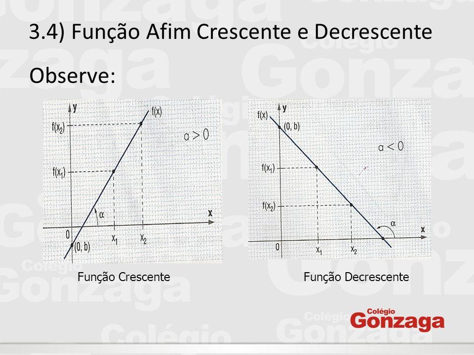 3.4) Função Afim Crescente e Decrescente Observe: Função Crescente Função Decrescente