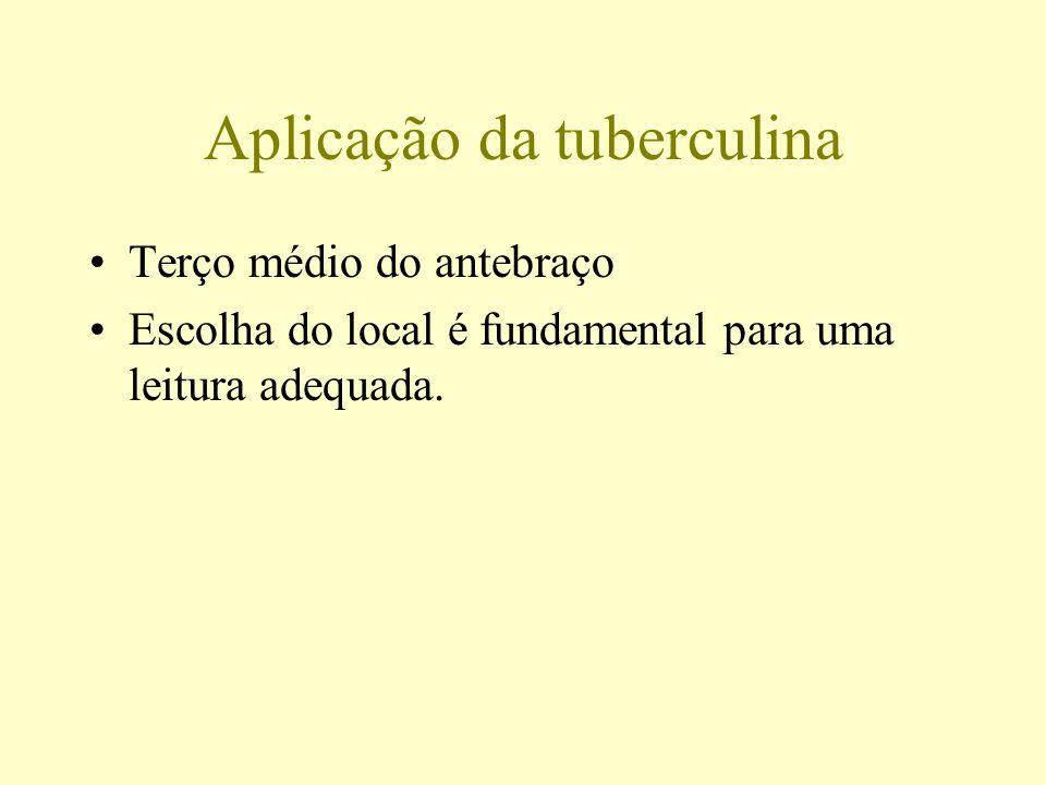Aplicação da tuberculina Terço médio do antebraço Escolha do local é fundamental para uma leitura adequada.