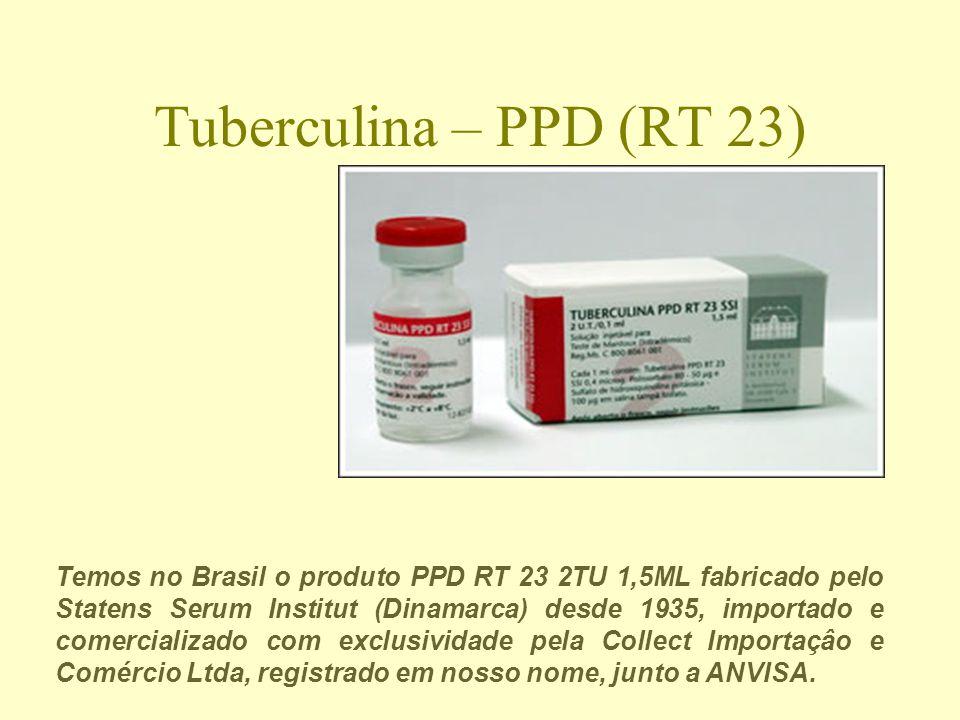 Tuberculina – PPD (RT 23) Temos no Brasil o produto PPD RT 23 2TU 1,5ML fabricado pelo Statens Serum Institut (Dinamarca) desde 1935, importado e comercializado com exclusividade pela Collect Importaçâo e Comércio Ltda, registrado em nosso nome, junto a ANVISA.