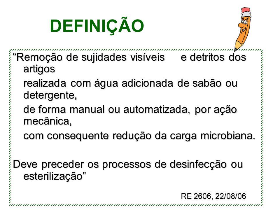 """DEFINIÇÃO """"Remoção de sujidades visíveise detritos dos artigos realizada com água adicionada de sabão ou detergente, de forma manual ou automatizada,"""