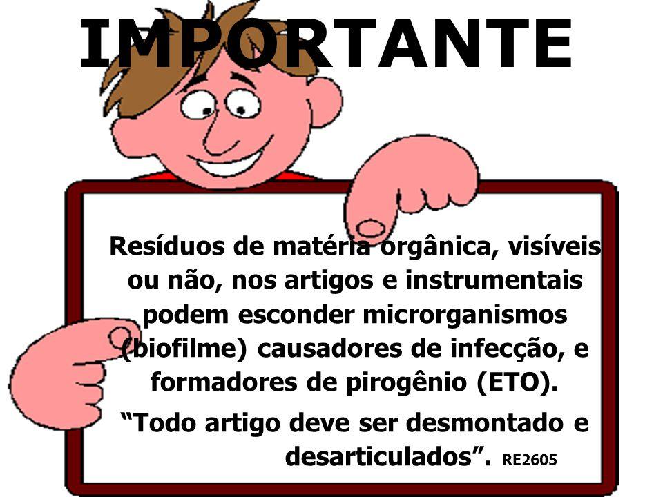 IMPORTANTE Resíduos de matéria orgânica, visíveis ou não, nos artigos e instrumentais podem esconder microrganismos (biofilme) causadores de infecção,
