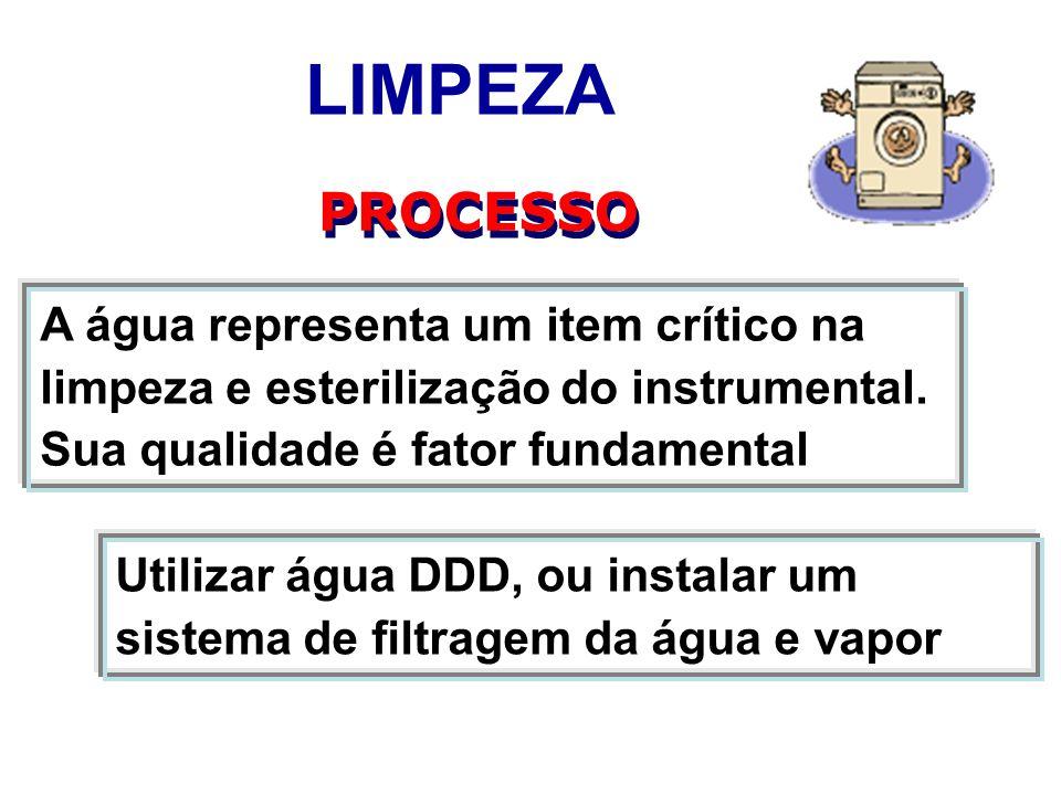 LIMPEZA PROCESSO A água representa um item crítico na limpeza e esterilização do instrumental. Sua qualidade é fator fundamental Utilizar água DDD, ou