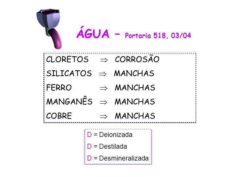 ÁGUA – Portaria 518, 03/04 CLORETOS  CORROSÃO SILICATOS  MANCHAS FERRO  MANCHAS MANGANÊS  MANCHAS COBRE  MANCHAS D = Deionizada D = Destilada D =