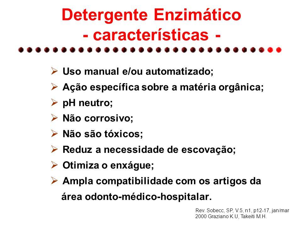 Detergente Enzimático - características -  Uso manual e/ou automatizado;  Ação específica sobre a matéria orgânica;  pH neutro;  Não corrosivo; 