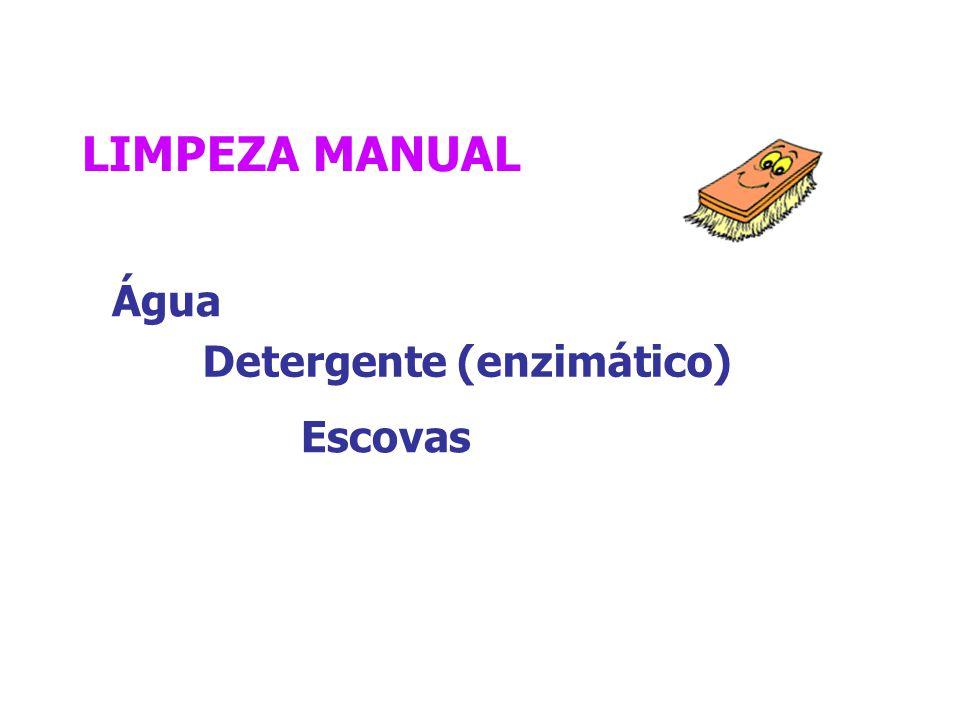 LIMPEZA MANUAL Água Detergente (enzimático) Escovas