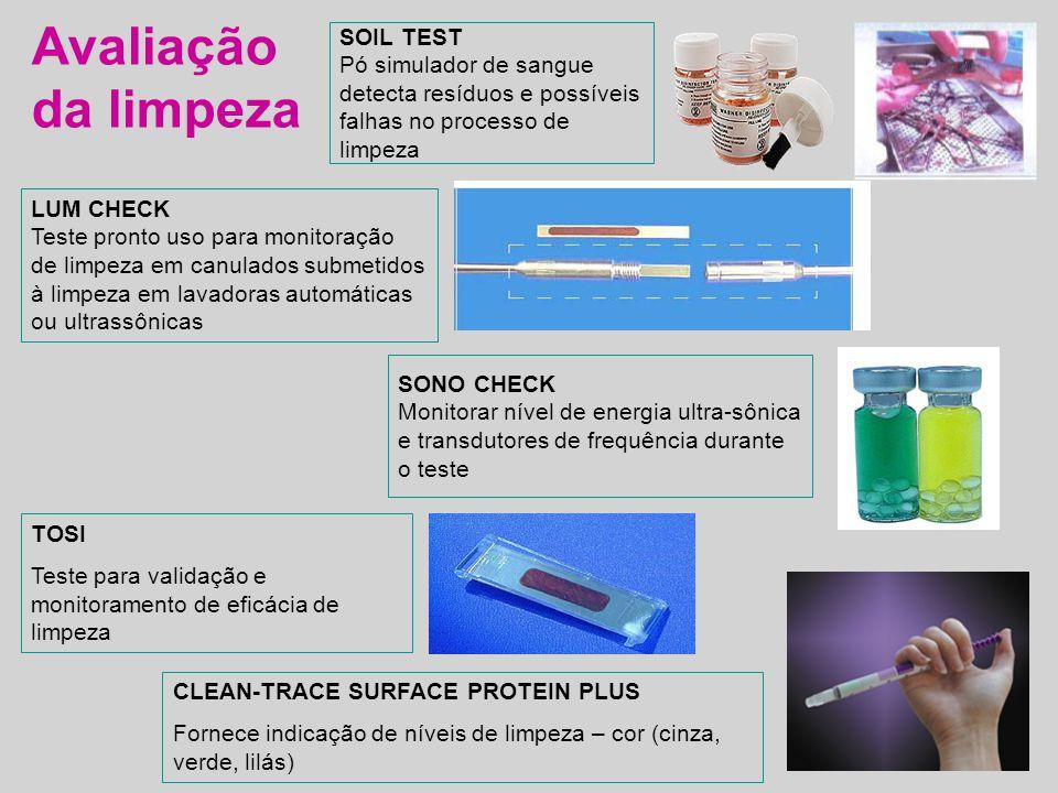 Avaliação da limpeza SOIL TEST Pó simulador de sangue detecta resíduos e possíveis falhas no processo de limpeza LUM CHECK Teste pronto uso para monit