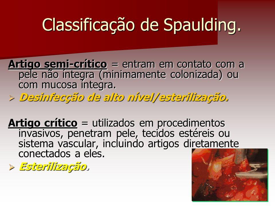 Classificação de Spaulding. Artigo semi-crítico = entram em contato com a pele não íntegra (minimamente colonizada) ou com mucosa íntegra.  Desinfecç