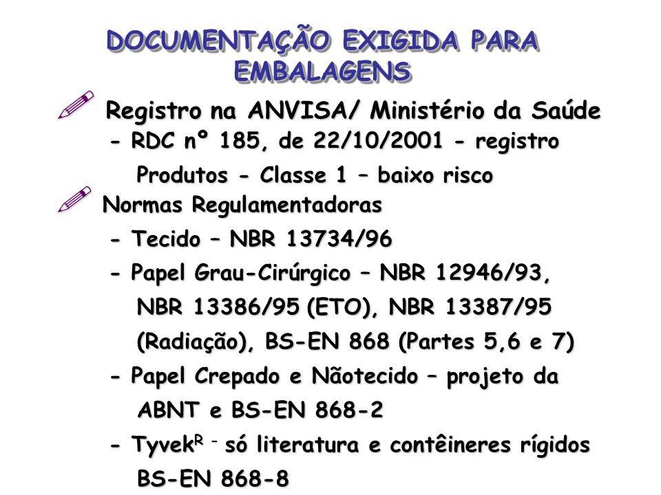 DOCUMENTAÇÃO EXIGIDA PARA EMBALAGENS  Registro na ANVISA/ Ministério da Saúde - RDC nº 185, de 22/10/2001 - registro - RDC nº 185, de 22/10/2001 - re