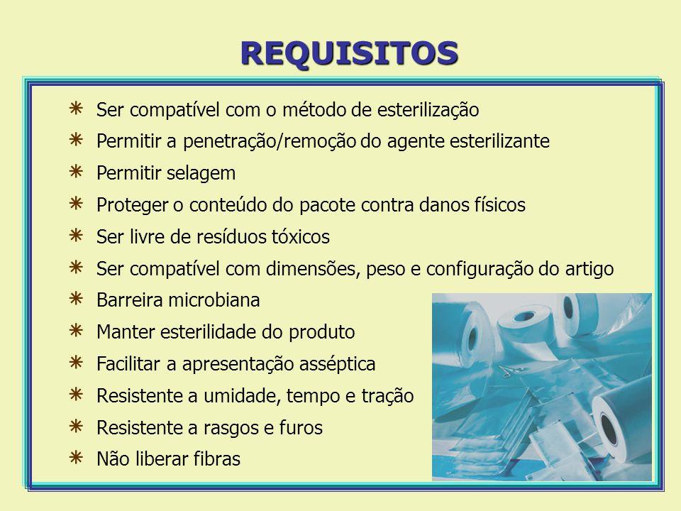 ٭ Ser compatível com o método de esterilização ٭ Permitir a penetração/remoção do agente esterilizante ٭ Permitir selagem ٭ Proteger o conteúdo do pac