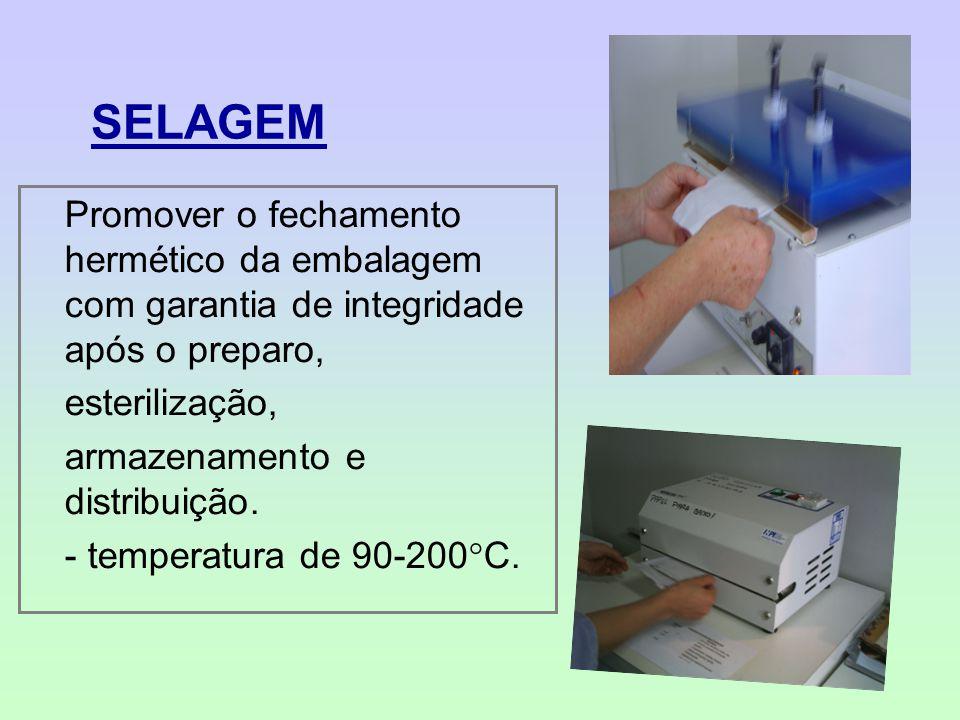 SELAGEM Promover o fechamento hermético da embalagem com garantia de integridade após o preparo, esterilização, armazenamento e distribuição. - temper