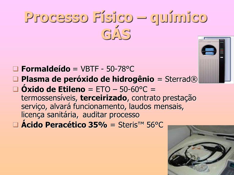  Formaldeído = VBTF - 50-78°C  Plasma de peróxido de hidrogênio = Sterrad®  Óxido de Etileno = ETO – 50-60°C = termossensíveis, terceirizado, contr