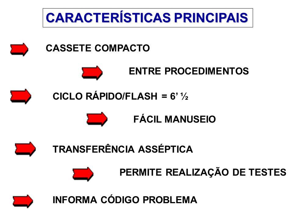 CARACTERÍSTICAS PRINCIPAIS CASSETE COMPACTO ENTRE PROCEDIMENTOS CICLO RÁPIDO/FLASH = 6' ½ FÁCIL MANUSEIO TRANSFERÊNCIA ASSÉPTICA PERMITE REALIZAÇÃO DE