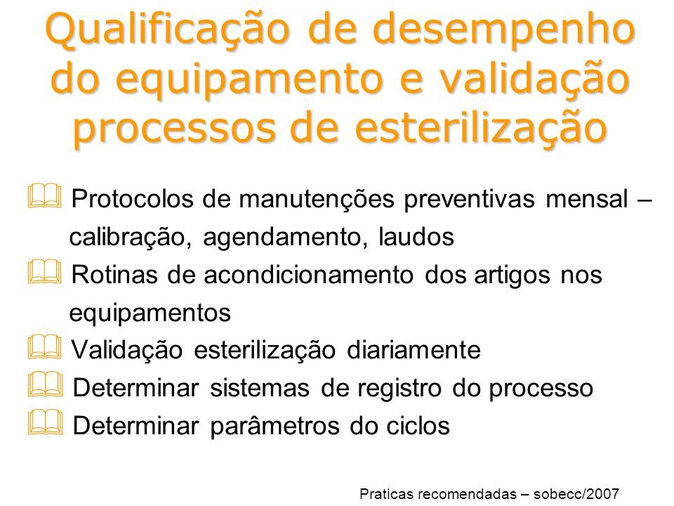 Qualificação de desempenho do equipamento e validação processos de esterilização  Protocolos de manutenções preventivas mensal – calibração, agendame