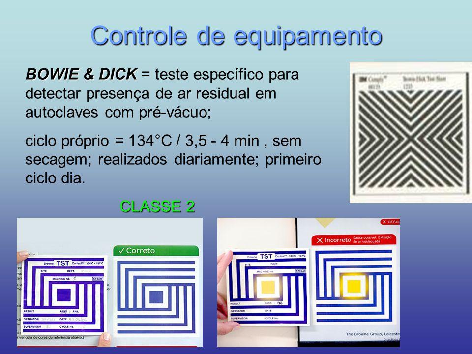 Controle de equipamento BOWIE & DICK BOWIE & DICK = teste específico para detectar presença de ar residual em autoclaves com pré-vácuo; ciclo próprio