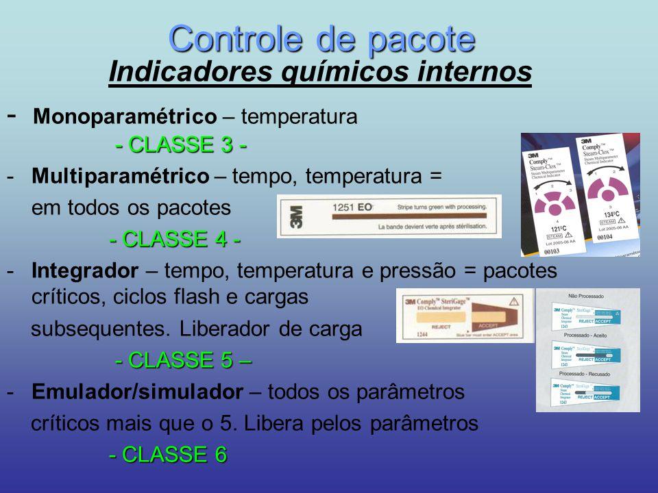 Controle de pacote Indicadores químicos internos -CLASSE 3 - - Monoparamétrico – temperatura - CLASSE 3 - -Multiparamétrico – tempo, temperatura = em