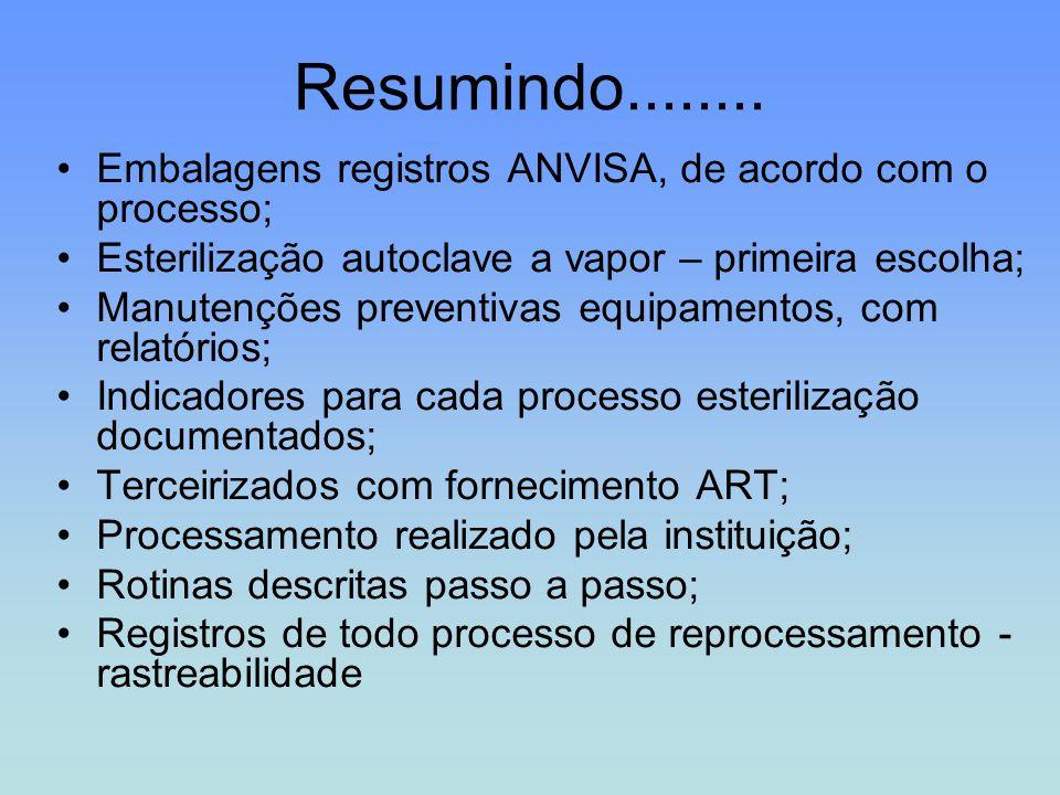 Resumindo........ Embalagens registros ANVISA, de acordo com o processo; Esterilização autoclave a vapor – primeira escolha; Manutenções preventivas e