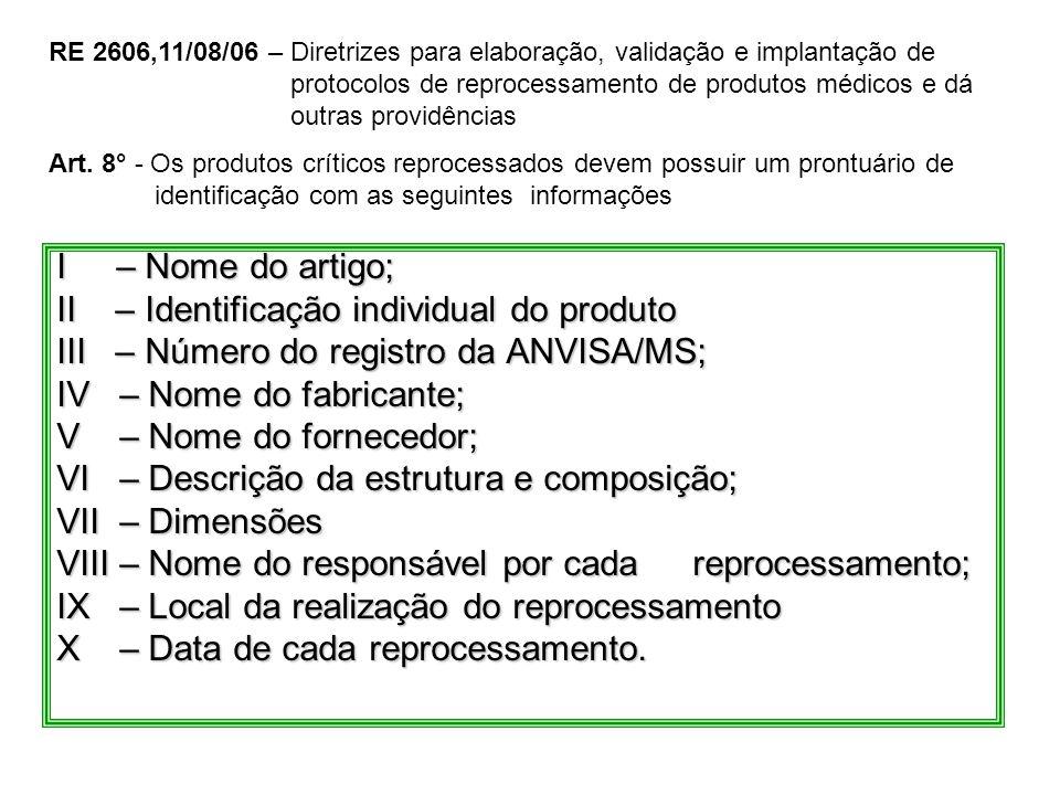 I – Nome do artigo; II – Identificação individual do produto III – Número do registro da ANVISA/MS; IV – Nome do fabricante; V – Nome do fornecedor; V