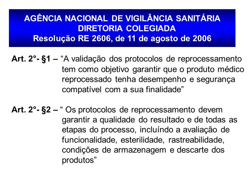 """Art. 2°- §1 – """"A validação dos protocolos de reprocessamento tem como objetivo garantir que o produto médico reprocessado tenha desempenho e segurança"""