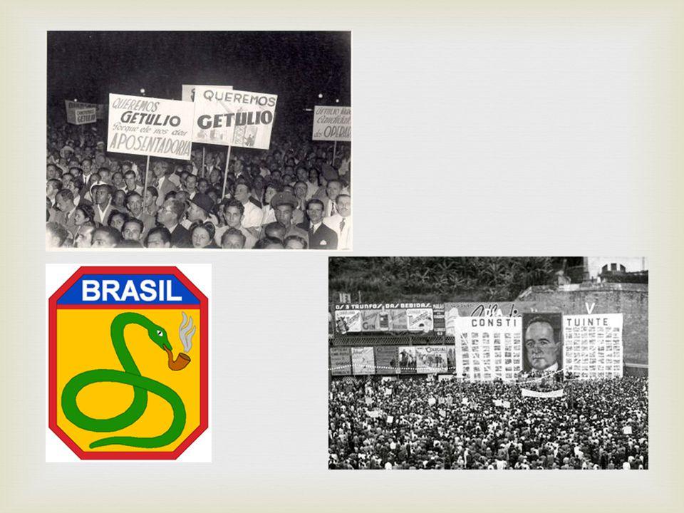  -Populismo e Redemocratização (1945-1964) Governo Dutra (1945-1950) Governo Vargas (1950-1954) Governos Café Filho (1954-1955), Carlos Luz (dois dias em novembro de 1955) e Nereu Ramos (1955-1956) Governo Juscelino Kubitschek (1956- 1961) Governo Jânio Quadros (de janeiro a agosto de 1961) Governo João Goulart (1961-1964)