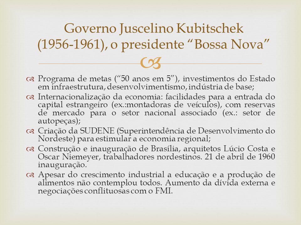 """  Programa de metas (""""50 anos em 5""""), investimentos do Estado em infraestrutura, desenvolvimentismo, indústria de base;  Internacionalização da eco"""